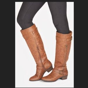 JUST FAB | Brown Leather Tall Simona Boots 9-10